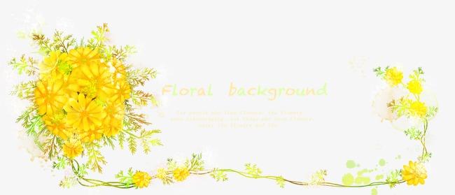 黄色の花の枝模様psd層別テンプレート黄色の花 植物レース グリーン