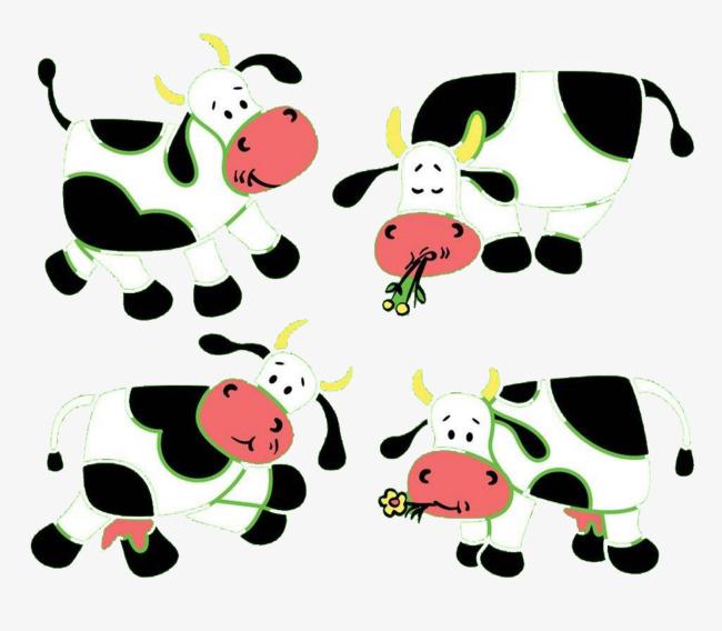 La Figura De Dibujos Animados De Cuatro Vacas Vaca Lechera Cuatro