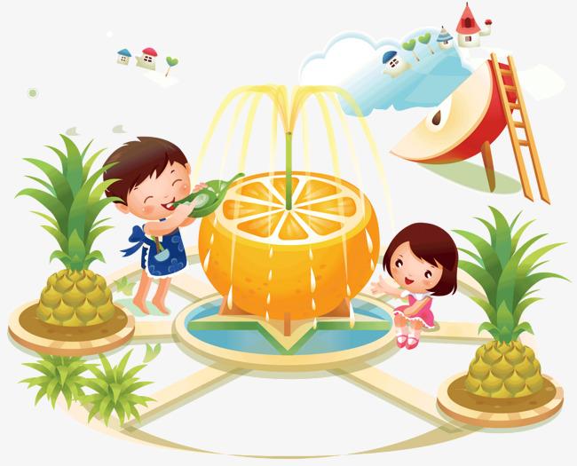 les enfants du paradis de fruits graphique vectoriel