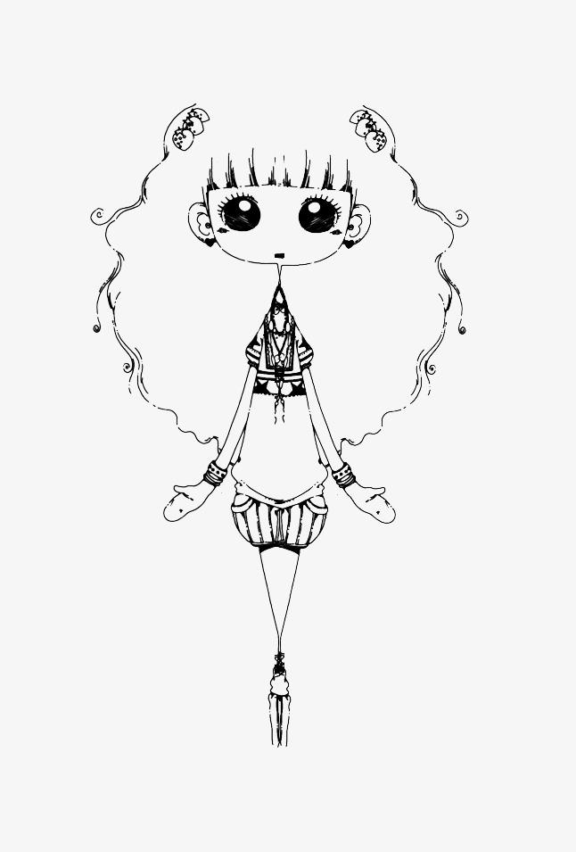 La Jeune Fille Simple Course Dessin En Noir Et Blanc A La Mode En