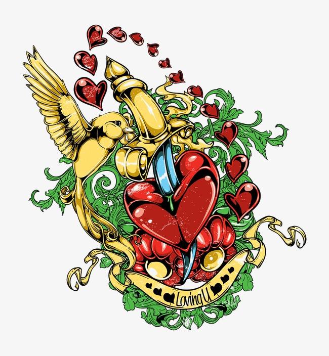 Pájaro Dorado Y Corazón De Corazones Cartoon Bird Daga Espada De