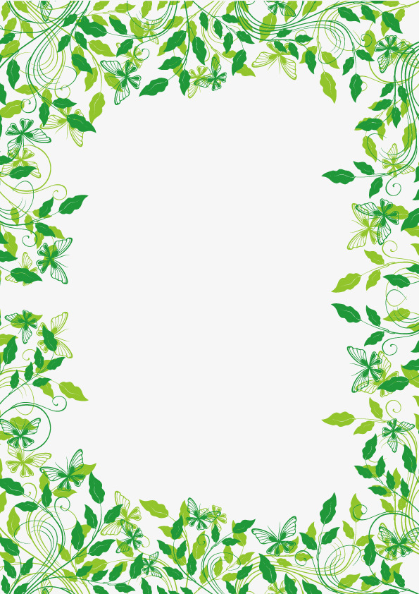 Green Plants Cane Border Vector Material Png And