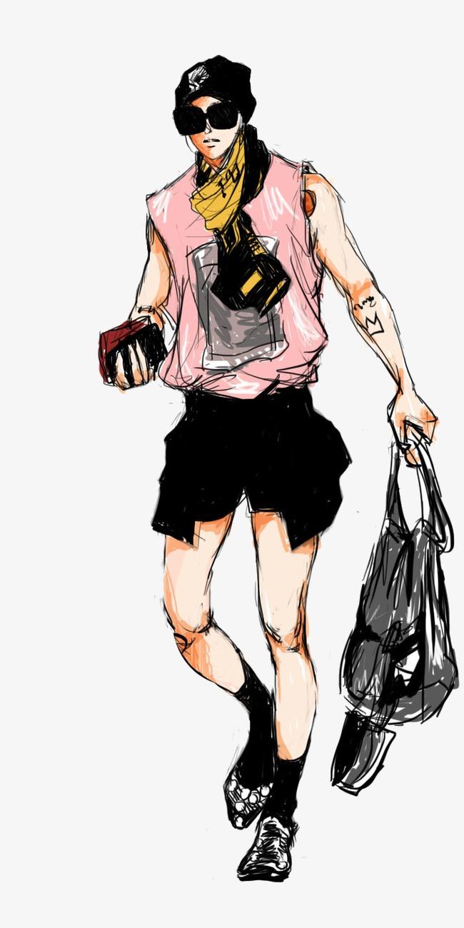無料ダウンロードのためのカッコイイ個性男装手描きイラストデザイン