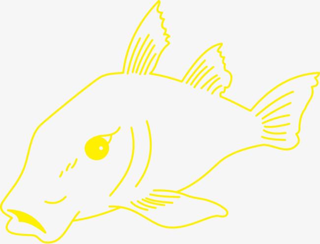 Dibujado A Mano Linea Peces Amarillo Pescado Animal PNG y Vector ...