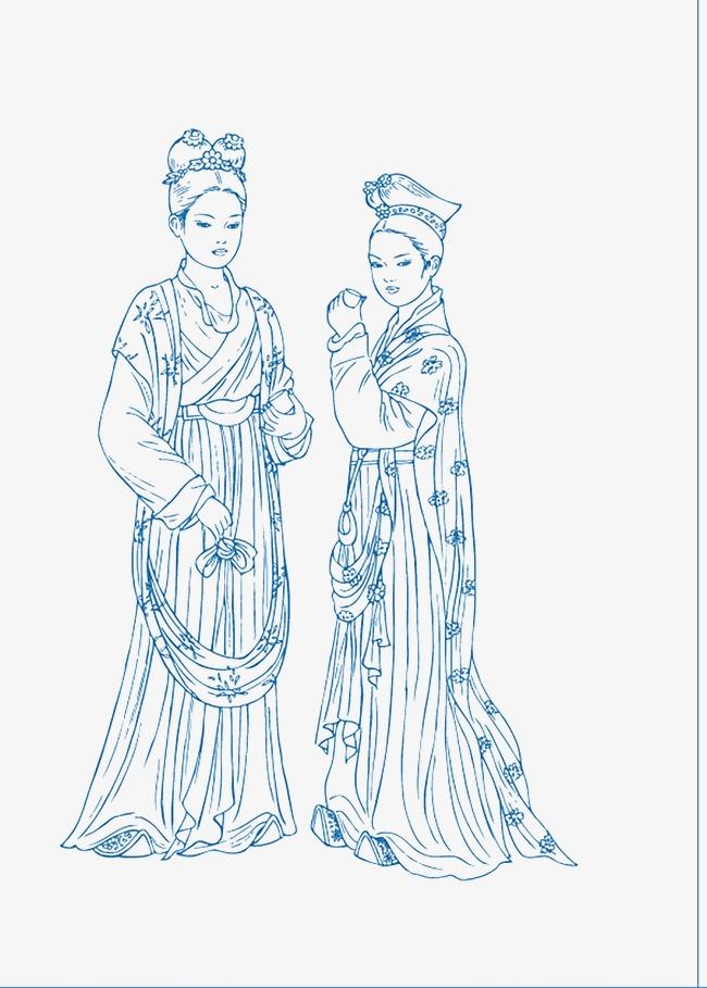 Dibujado A Mano Linea Damas Estilo Chino Azul Y Blanco Dibujo De ...