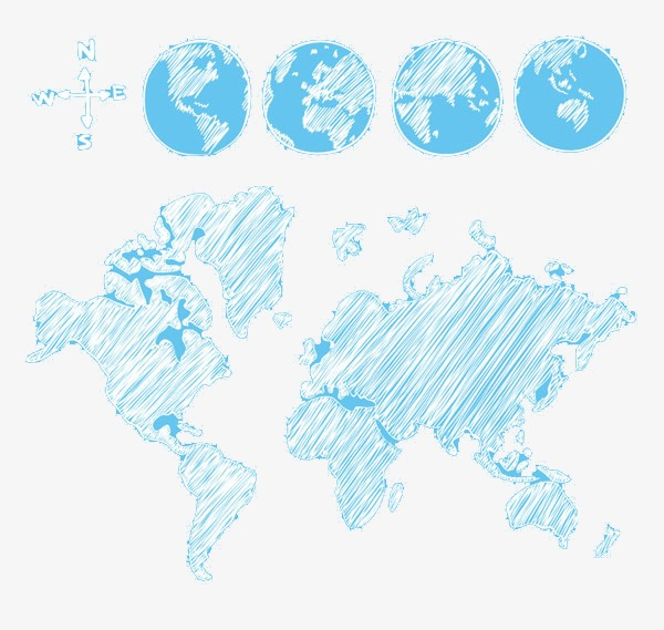 Hand-drawn Map, World, Map, Hand Painted PNG and PSD File for Free ...