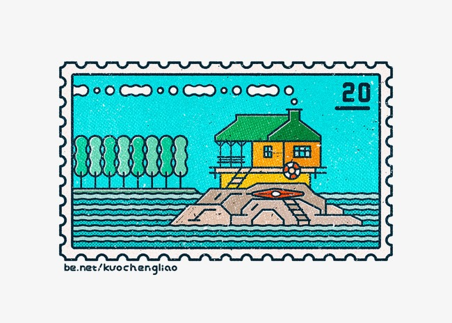 Hand Painted 20 Cent Stamps Stamp Blue House PNG Image And Clipart