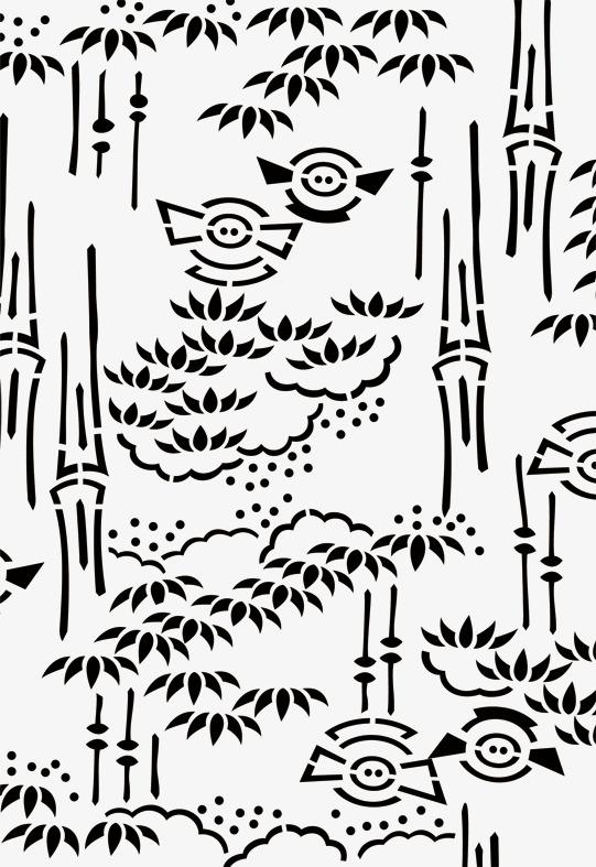 Die Schweine Fliegen Handbemalte Bambus Cartoon Handbemalte Der