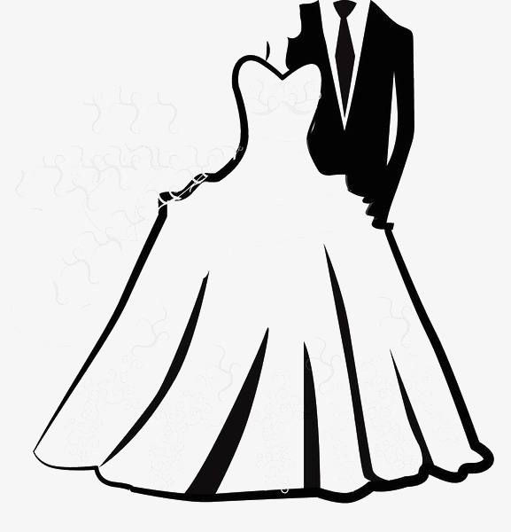 Hand Painted Black And White Wedding Dress Wedding Clipart