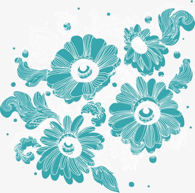 Pintado A Mano De Flores Azules Mano Petal Acuarela Png Y Vector