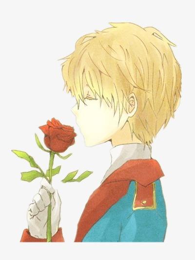 無料ダウンロードのための手描き男 薔薇の花 横顔 手描きイラストpng画像素材