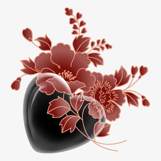 Noir Fleur En Forme De Coeur A La Main En Forme De Coeur Noir Fleur