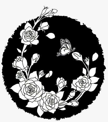 Hand Painted Flower Pattern In Black And White Line Drawing Flower
