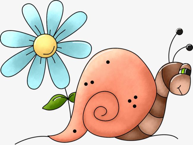 Pintado A Mano De Flores De Dibujos Animados De Caracol Lindo Mi Ira