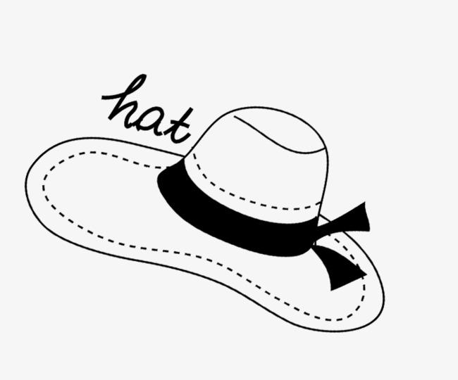Pintado a mano de sombrero Sombrero Blanco Y Negro Linea De Arte Cartoon  Creativo PNG Imagen 36c116f9f40
