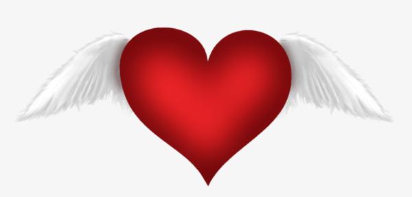 Pintado A Mano De Corazon Rojo Con Alas Amor Corazones Ala Imagen