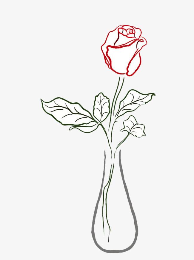 Sketsa Bunga Lukisan Bunga Ros Dalam Pasu