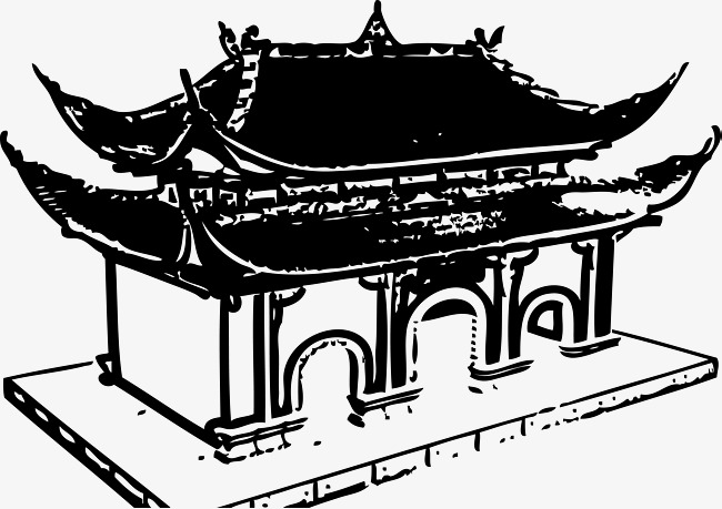 House Construction Clip Art : Hand painted temple building construction plans hand vector