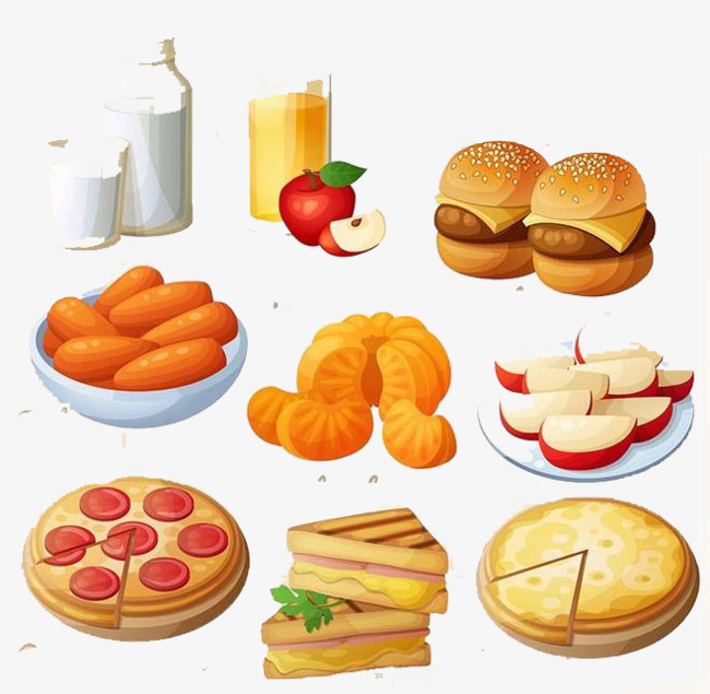 Hand-painted Western Food, Food Clipart, Hand Painted ...