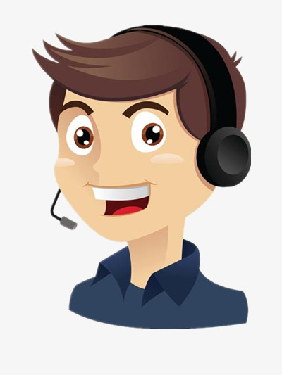 handsome male customer service  headset  character