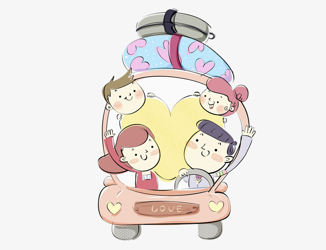 happy family in hand drawn tour family clipart automobile luggage