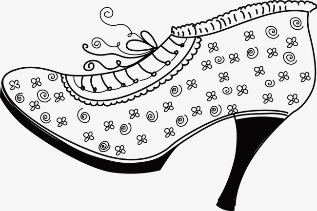High Heeled Shoes Shoes Clipart Line Drawing Black And White Png