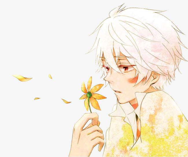 les fleurs avec un gar u00e7on de la d u00e9pression peint  u00e0 la main