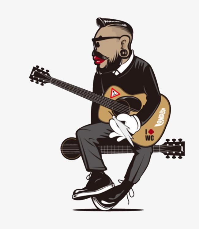 Memegang Gitar Anak Laki Laki Hitam Gitar Tangan Dicat Fail Png Dan