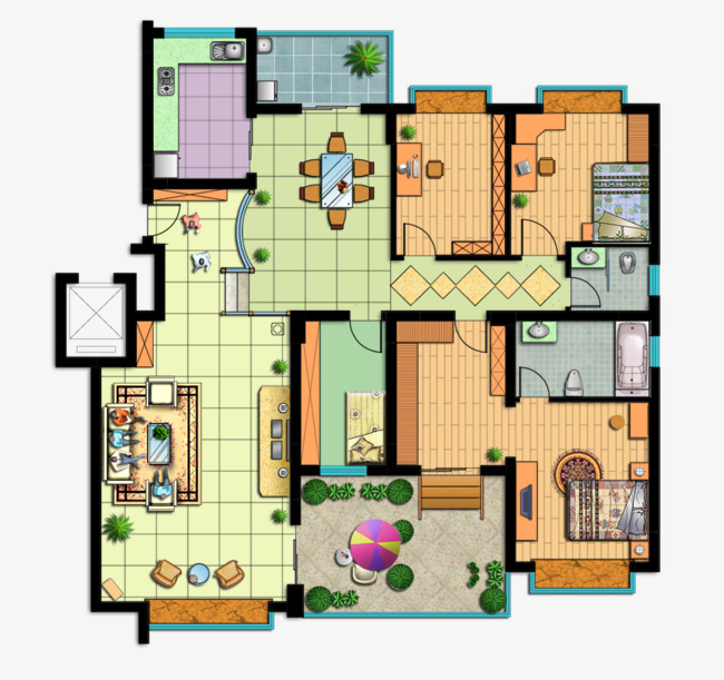 Vier Schlafzimmer Dekoration Renderings High End Grosse Home Effekt