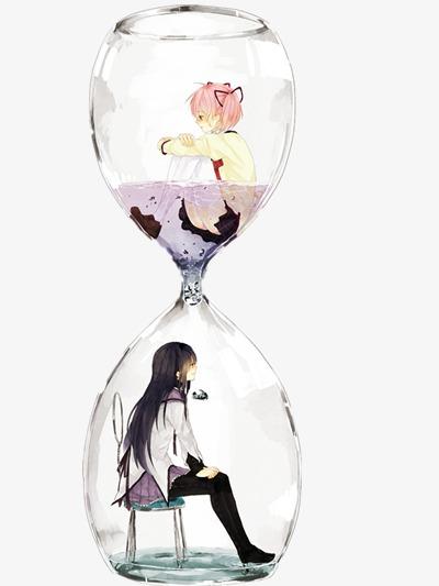 無料ダウンロードのための砂時計に2人の女の子が 手描き イラスト 装飾