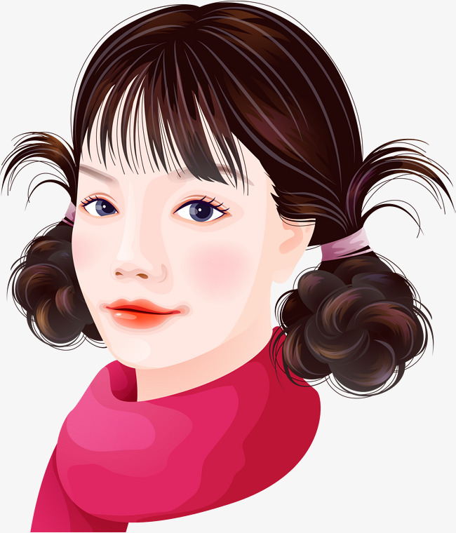 Illustration Girl Hairstyle Line Drawing Style Ladies Hair Style