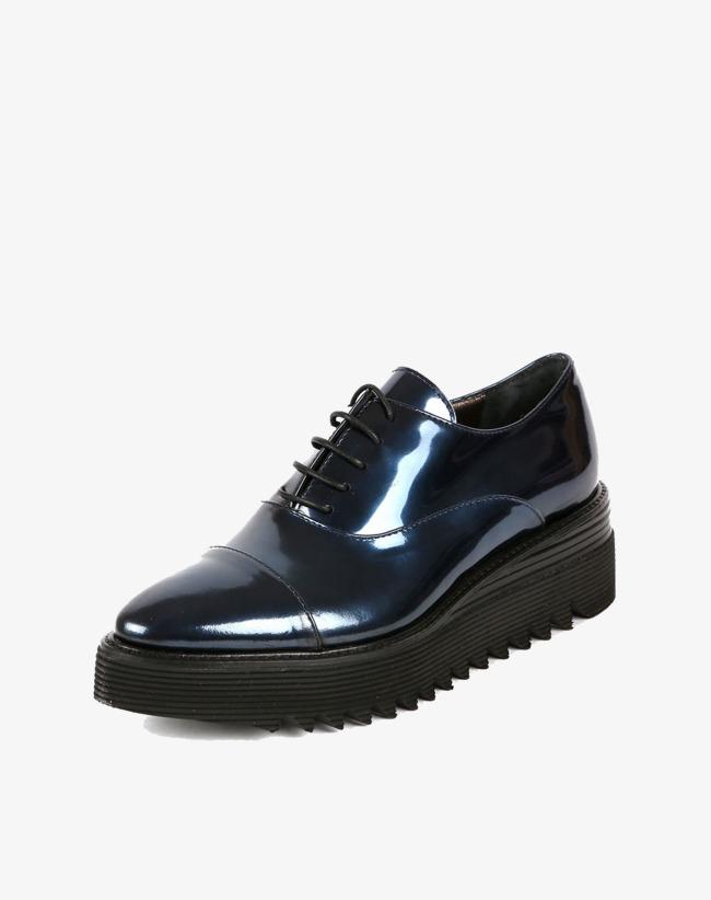 Italiano Importado Couro De Sapato Azul Escuro Com Azul Escuro Cheia ... 4e12fb1f711