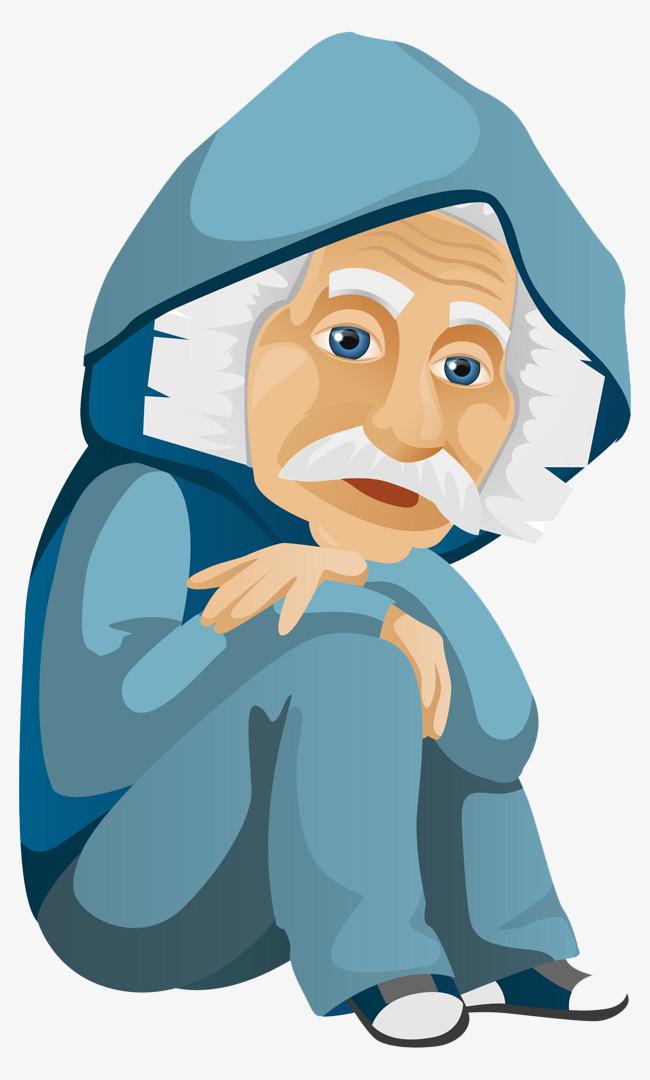 Kesepian Kakek Kartun Rambut Putih Kakek Orang Tua Imej Png Dan