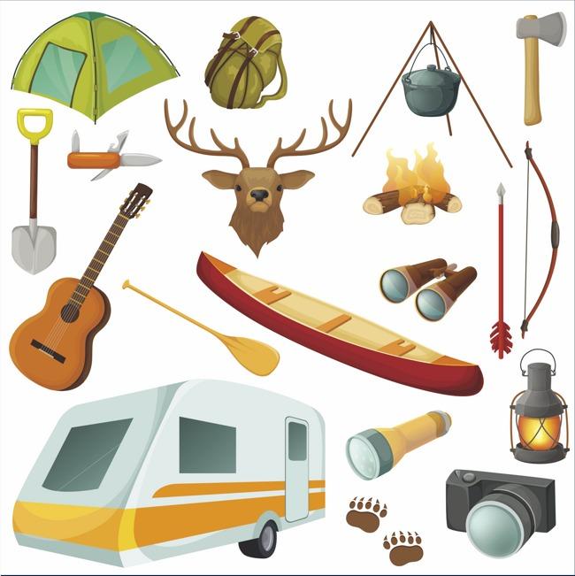 Long Haul Travel Theme Vector Material Travel Clipart Shovel Tent