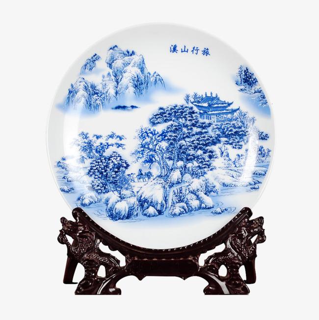 Voyageur Shan Xi Figure Xi Shan Voyageur Bleu Et Blanc Decoration