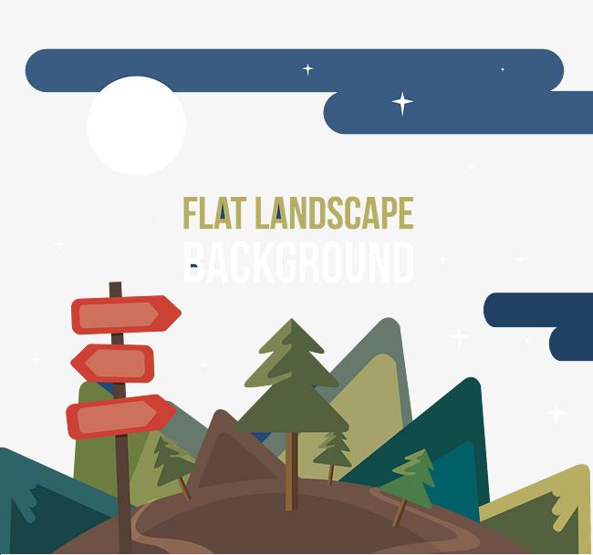 Gunung Hutan Kayu Tanda Jalan Gambar Kartun Hutan Kartun Gunung