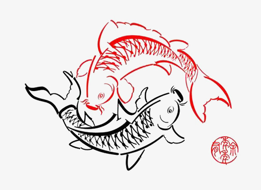 Tahun Baru Kartun Tahun Mempunyai Ikan Merah Hitam Dan Putih Dengan