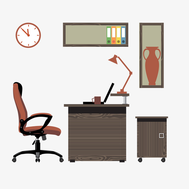 Office Illustration Office Vector Brown Wooden Furniture Png And