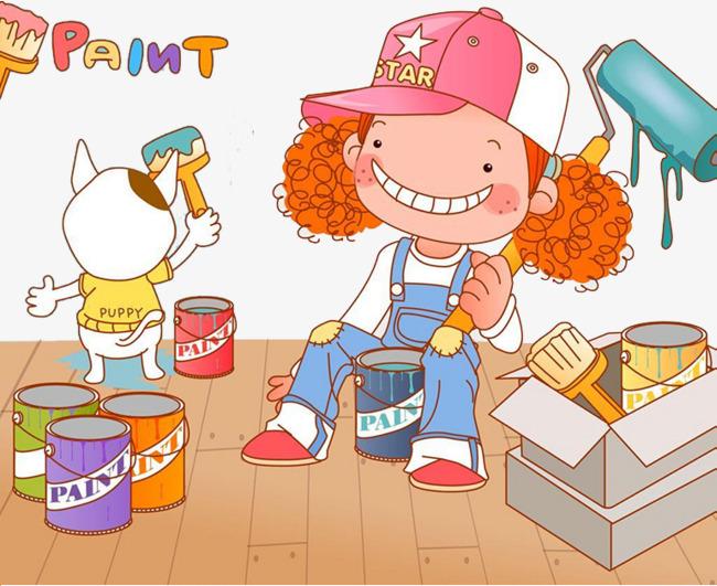 Malen Weibliche Pinsel Malen Arbeiter Weibliche Pinsel Und Maler