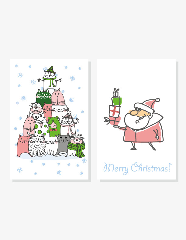 Painted Christmas Card Vector, Painted, Christmas, Greeting Cards ...