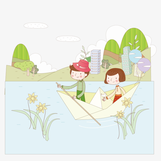 Paper Boat In The River Draw Couple Vector Lovers Paper Boat Png