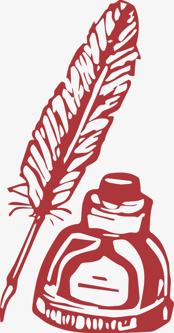 Pen And Ink Red Quill Inkwell Png Image And Clipart For Free Download