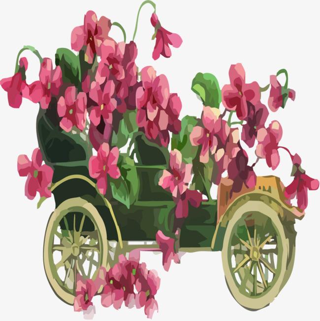 Flores De Color Rosa Con Trolley Pintado A Mano De La Ilustracion