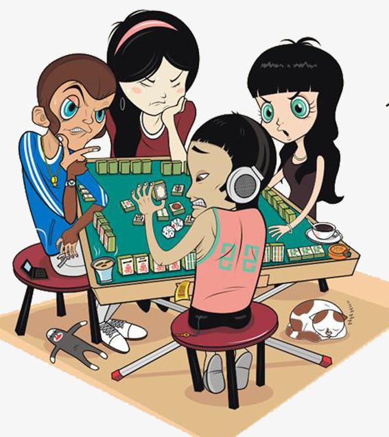 jouer au mah jong personnage dessin bd image png pour le
