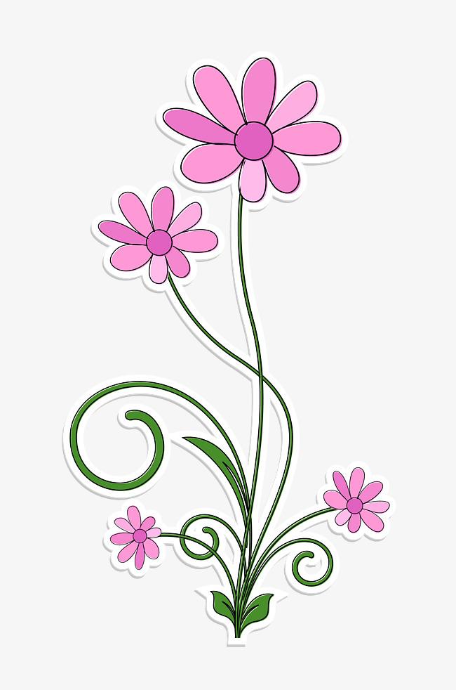 Bonitas Flores De Color Rosa Pintado A Mano De Dibujos Animados Flor