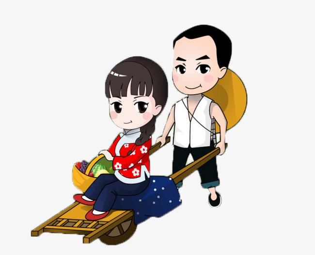 5b805838f دفع الفتاة الى الذهاب الى السوق عربة خشبية شابة متزوجة زهرة فتاة PNG صورة  للتحميل مجانا