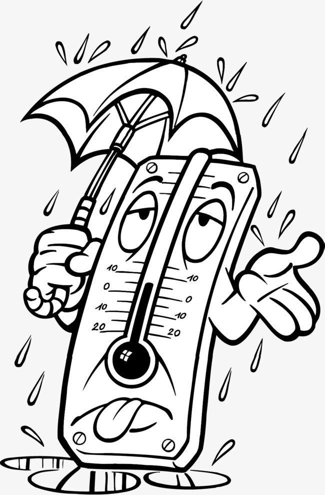 Rain The Thermometer Rain Vector Vector Thermometer Rain And