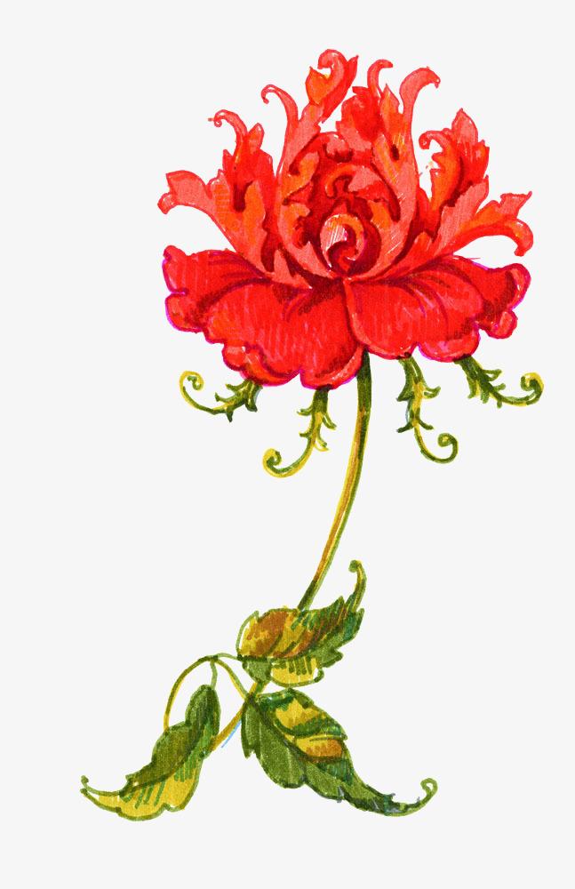 Flores Rojas Pintura Pintura Retro Pintura Decorativa Marco De La