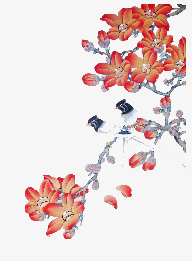 Red Flowers, Gules, Flower, Chinese Painting PNG Image and ...