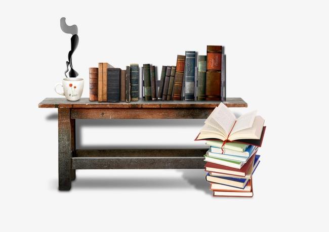 Rétro bureau bois livre vase fichier png et psd pour le